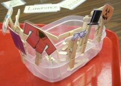 Good idea for story retelling- put story pieces onto clothespins