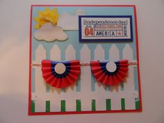 Patriotic Card -- Picket Fence and bunting