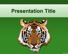 Free Tiger PowerPoint template with gree background color