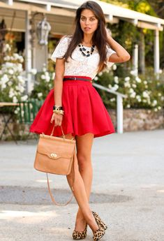 Red, White, Black, Leopard, Beige / Nude Outfit