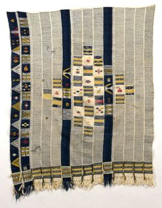 Africa | Woman's wrapper from the Dioula people of the Ivory Coast | Cotton; weft-floating pattern | Collected between 1919 and 1930 by Paul Pailler, a French colonial administrator.