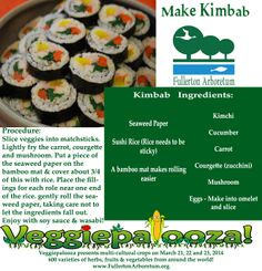 Kimbab #recipe. Vegetable ingredients can be grown from a home garden for the real #foodie.  Vegetable seedlings available at Veggiepalooza! http://fullertonarboretum.org/ps_veggiePalooza.php #kimbab #recipes #csuf #healthyeating