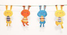 Free printable bunny garland for Easter