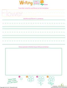 Jump Into Writing: Write a Flower Sentence Worksheet