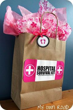 Hospital survivor kit - headbands, hair ties, healthy snacks, not healthy snack :), face cleaning wipes, chap stick, tylenol, gum, breath mints, slippers, pj's, nursing pads, magazines