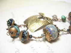 Lampwork bracelet wire wrapped aqua blue teal by pamelasjewelry, $78.00