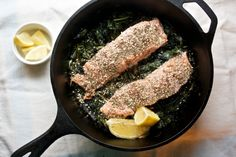 Roasted Salmon with Greens