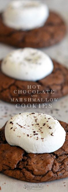 Hot Cocoa Cookies with Marshmallows. These are absolutely PERFECT with a cold glass of milk. Click for step-by-step instructions #stepable #recipes