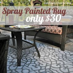 Spray paint and a stencil transform this outdoor rug.