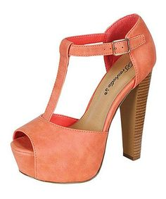 Another great find on #zulily! Peach Brina Platform Pump #zulilyfinds
