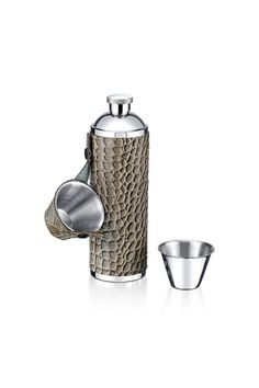 Stainless Steel Flask w/ 2 Shot Cups.