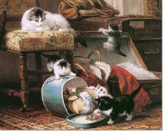 Henriette Ronner Knip - Kittens and the New Hat Painting
