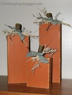 Fall Wood Craft Ideas | Have some extra wood laying around? Whip these wood pumpkins out in no ...