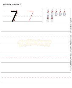 Number Writing Worksheet 7 - math Worksheets - preschool Worksheets