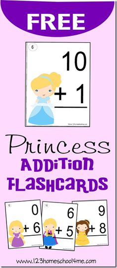 FREE Disney Princess Addition Flashcards - These will make practicing a fun math games for Kindergarten, 1st grade, and 2nd grade students #homeschool #princess #mathgames #flashcards #disneyprincess