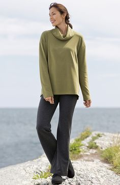 Pure Jill sueded cowl-neck top