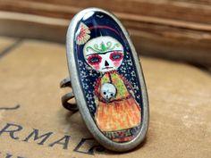 Frida La Catrina With A Skull - Original Handmade Big Silver Adjustable Oval Ring Jewelry by Danita Art. $19.00, via Etsy.