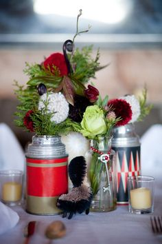 Centerpieces for a lodge wedding
