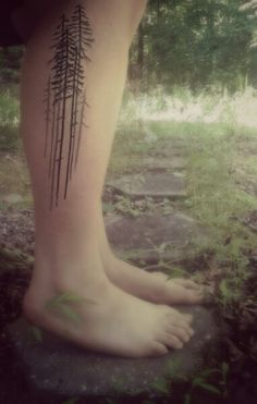 pine tree tattoo simple. I like this a lot. With a moon. It reminds me of camping; some of my favorite memories.