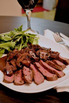 Steak with Red Wine-Mushroom PanSauce