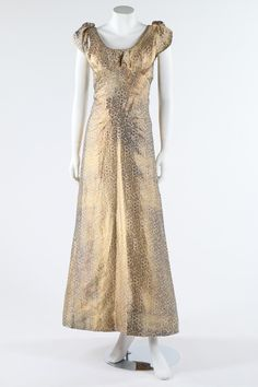 Maison Worth couture oriental brocade evening gown, late 1930's