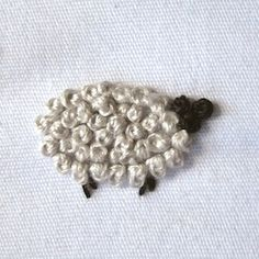 How to embroider French Knot Sheep  (bet a lot of 'ewe' will pin this!)