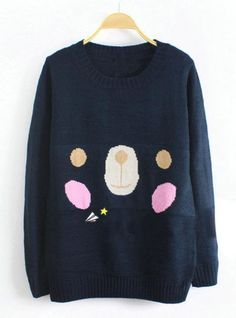Lovely Bear Long Sleeve Navy Sweater$39.00