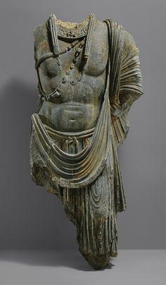 Torso of a monumental bodhisattva, ca. 5th century Pakistan, ancient region of Gandhara
