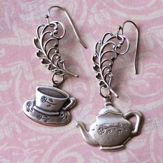 August Asymmetrical Earrings challenge:  Silver Teapot Teacup Charm Earrings by Renee Hong of jewelryfineanddandy on Etsy, $14.00