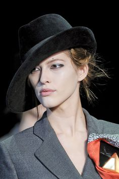 Women's hats on the runway for fall 2012.
