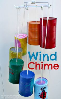 wind chime--kid craft - A girl and a glue gun! Great activity to have each child decorate a can and make a Class wind chime to put on the playground
