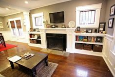 decor, dining rooms, living rooms, famili room, fireplace between windows