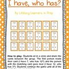 'I have, who has?' is a fun way for students to revise numerals.  Students sit in a circle and share the cards between the group. The first person ...