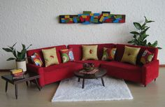 RARE  Hall's 1960s Modern Red Corduroy SECTIONAL Sofa by TheToyBox, $250.00