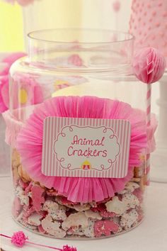 Dipped animal crackers! Can be done in any color to match party theme!