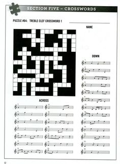FREE Printable Music Notes Crossword Puzzle