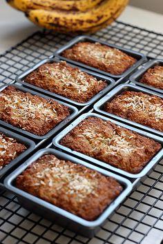 Grain-free Banana Coconut Mini-Loaves – Gluten-free, Dairy-free + Refined Sugar-free