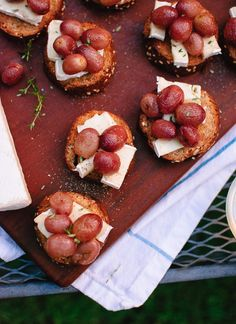 Jammy roasted grapes on brie and toast make a simple, seasonal appetizer! - cookieandkate.com