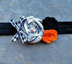 Vintage Halloween Fabric Rosette Felt Flower Headband