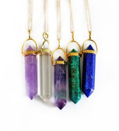CHRYSOCOLLA point necklaces