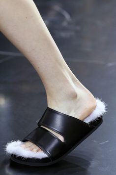 Celine Spring 2013 white fur sandals