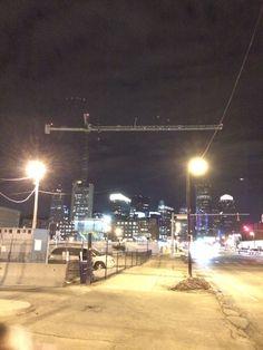 Crane keeping watch over Boston by night.