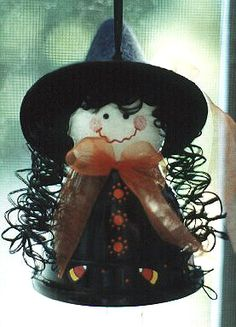 """witch made with clay pot uses 2"""" pot with wood ball for head"""