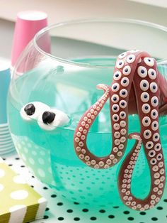party punches, halloween parties, punch bowls, monster party, birthday parties, sea monsters, octopus, parti idea, deep sea creatures