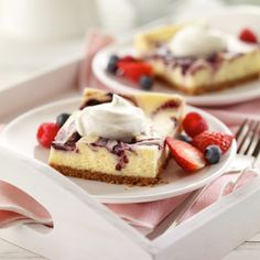 Berry Marbled Summer Cheesecake Dessert Recipe from Land O'Lakes