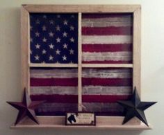 Country Rustic decor faux decorative window with display shelf - chevron and burlap flag. I love the rustic flag