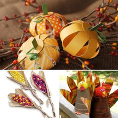 Kids on Thanksgiving - ideas for crafts for table settings