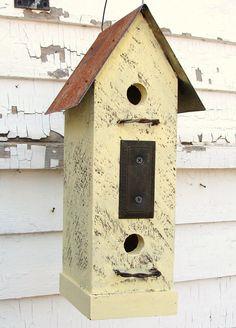 Recycled Vintage Finds Birdhouse Rustic Butter by baconsquarefarm, $45.00 rustic birdhous, bird hous