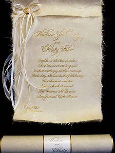 natural scroll invitation arlene segal