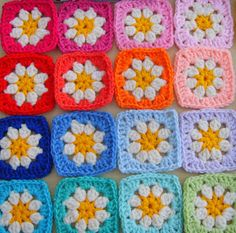 rainbow daisy grannies